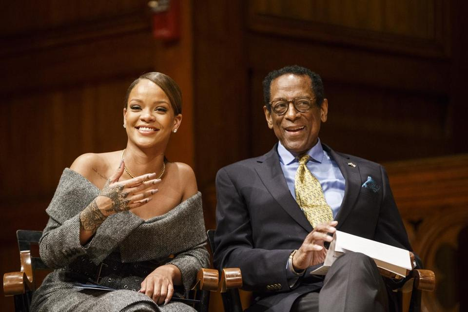 Pop singer Rihanna laughed with Dr. Counter at Harvard earlier this year.